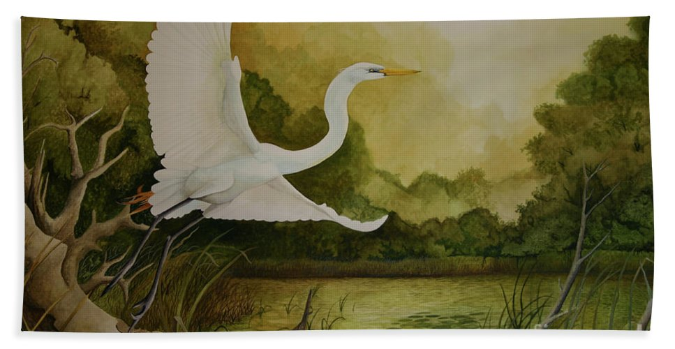 Great Egret Beach Towel featuring the painting Summer Solitude by Charles Owens