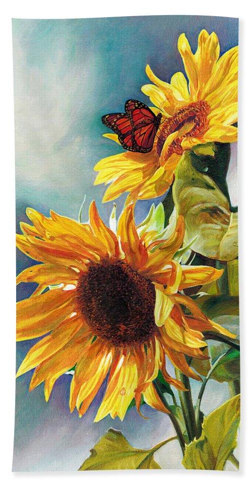Sunflower Beach Towel featuring the painting Summer by Svitozar Nenyuk