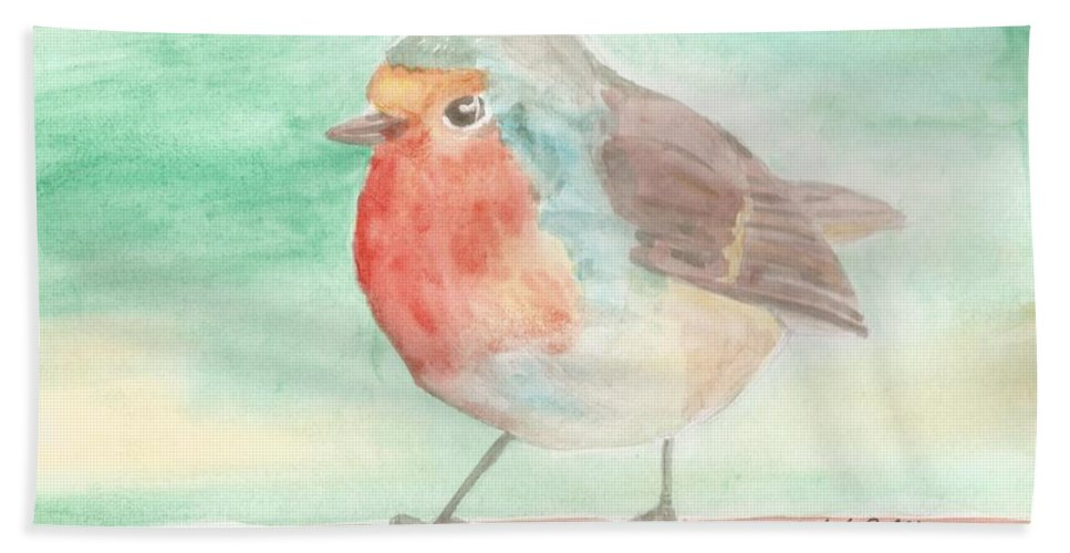 Robin Beach Towel featuring the painting Summer Time Robin by Isabel Proffit