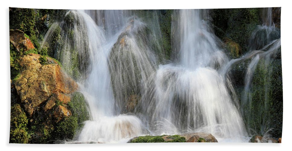 Waterfall Beach Towel featuring the photograph Summit Creek Waterfalls by Ed Riche
