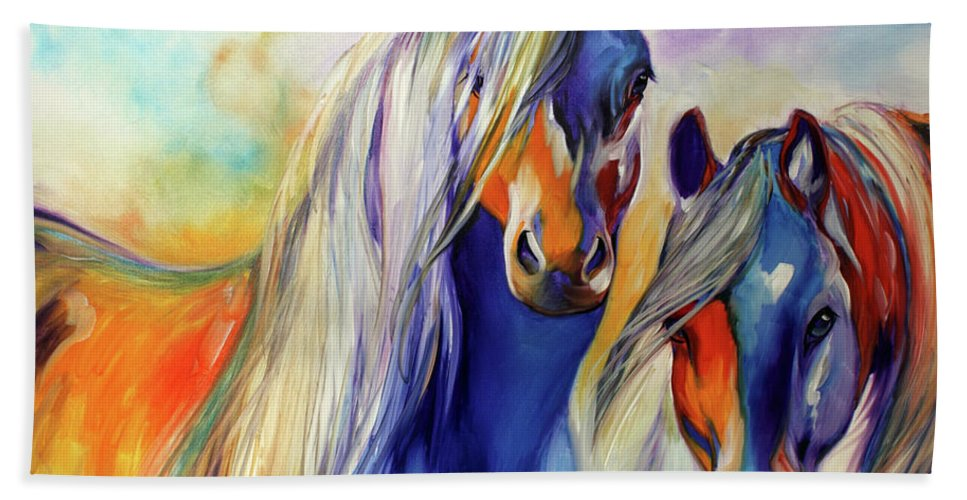 Marcia Beach Towel featuring the painting Sun And Shadow Equine Abstract by Marcia Baldwin