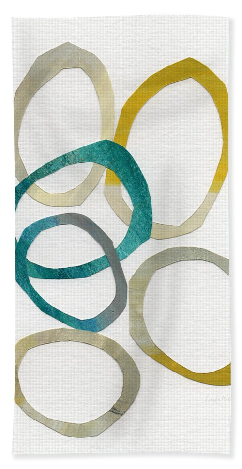 Abstract Art Beach Towel featuring the mixed media Sun And Sky- Abstract Art by Linda Woods