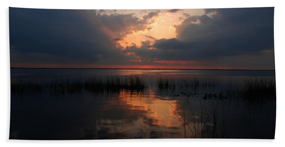 Sunset Beach Towel featuring the photograph Sun Behind The Clouds by Susanne Van Hulst