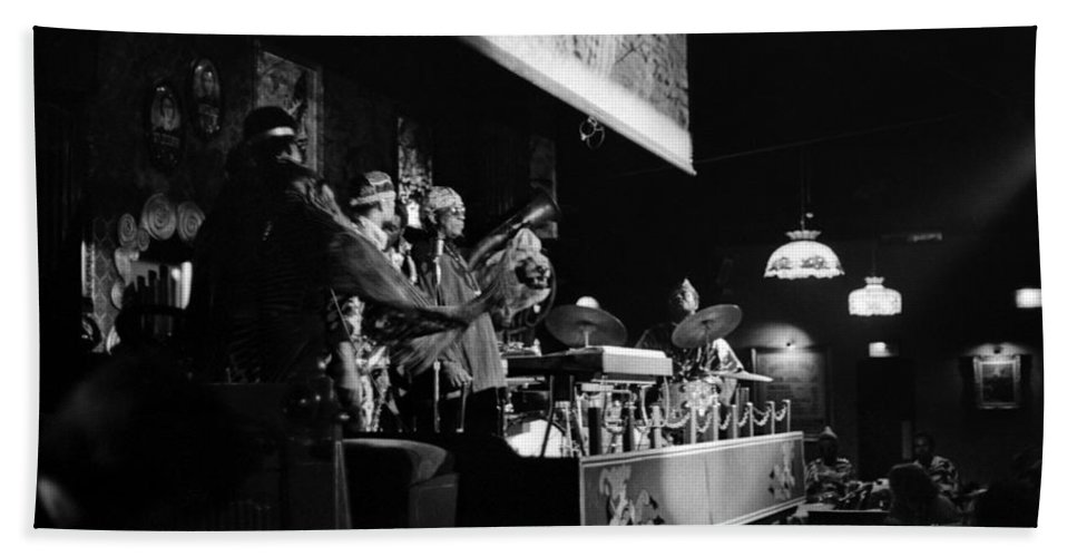 Jazz Beach Towel featuring the photograph Sun Ra Arkestra At The Red Garter 1970 Nyc 10 by Lee Santa