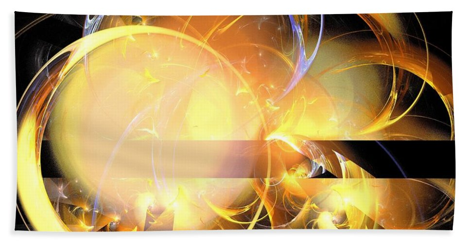 Apophysis Beach Towel featuring the digital art Sun Rings Spiral by Kim Sy Ok