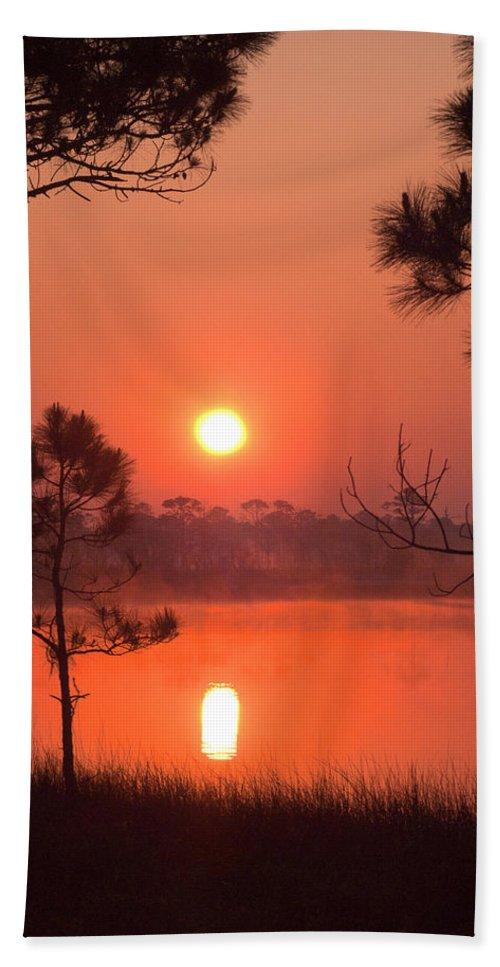 Sun Rise Beach Towel featuring the photograph Sun Rise At Red Lake Grayton Beach State Park Florida by John Harmon