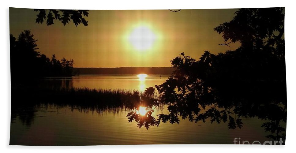 Lake Beach Towel featuring the photograph Sun Rise, Hamlin Lake Photograph by David K Myers