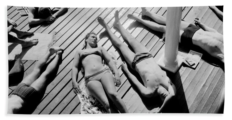 Sunbather Beach Sheet featuring the photograph Sun Tanning At The Deligny Swimming Pool, Paris, June, 1963 by French School