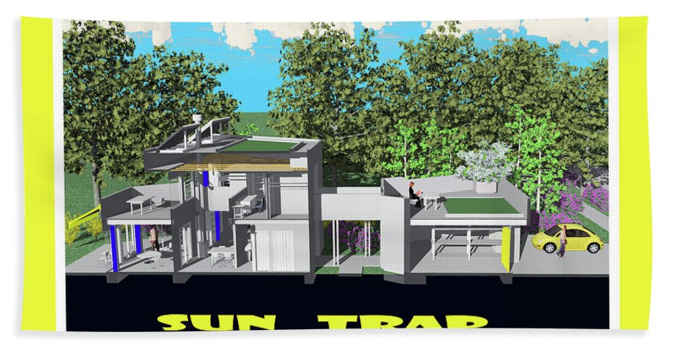 Architectural Rendering. Solar Architecture. Passive Solar Design. Green Design. Mike Moore Beach Towel featuring the drawing Sun Trap Section by Michael Moore