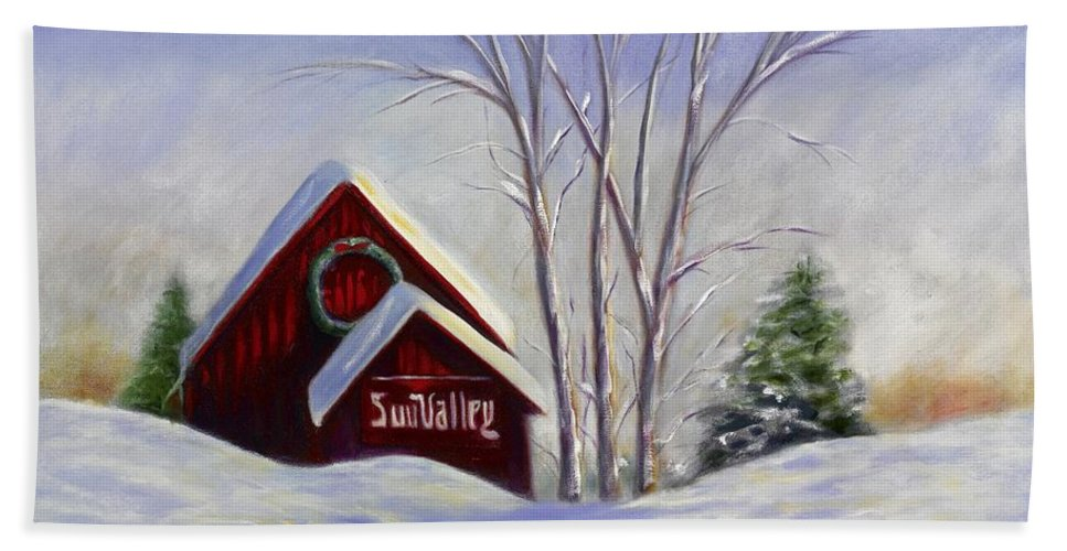 Landscape White Beach Sheet featuring the painting Sun Valley 1 by Shannon Grissom