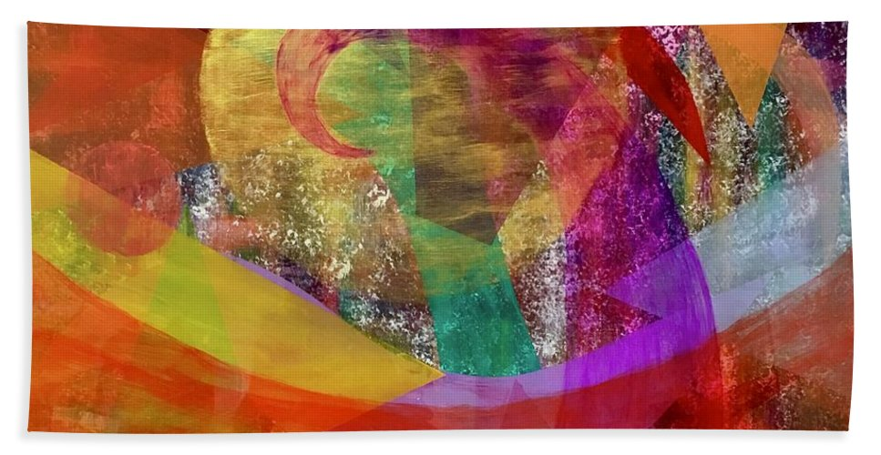Colorful Beach Towel featuring the painting Sun Wave 16-15 by Patrick OLeary