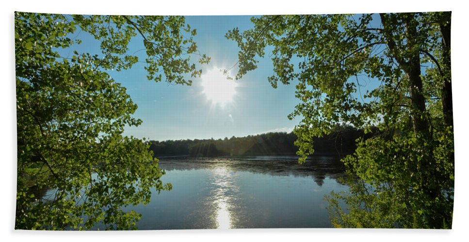 Reservoir Beach Towel featuring the photograph Sunburst Over The Reservoir by Joan D Squared Photography