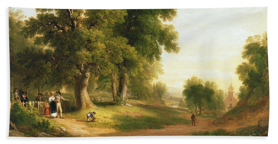 Going To Church; Churchgoer; Outing; Landscape; Sunday Best; Family; Congregation; Parishioner; Rural; Hudson River School; Beach Towel featuring the painting Sunday Morning by Asher Brown Durand