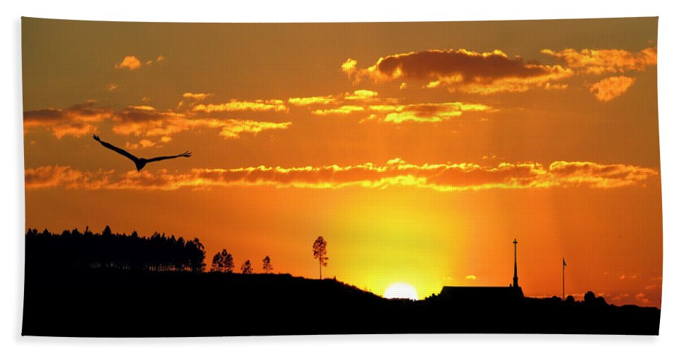 Sunset Beach Towel featuring the photograph Sundown Freefall by Adele Moscaritolo
