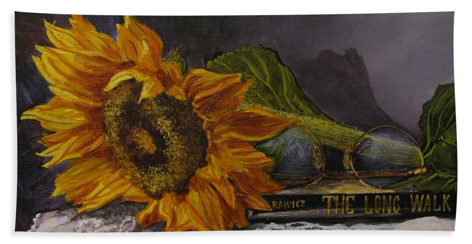 Judy Bradley Beach Towel featuring the painting Sunflower And Book by Judy Bradley