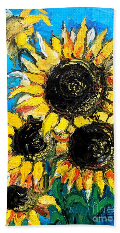 Sunflower Bouquet Beach Towel featuring the painting Sunflower Bouquet by Mona Edulesco