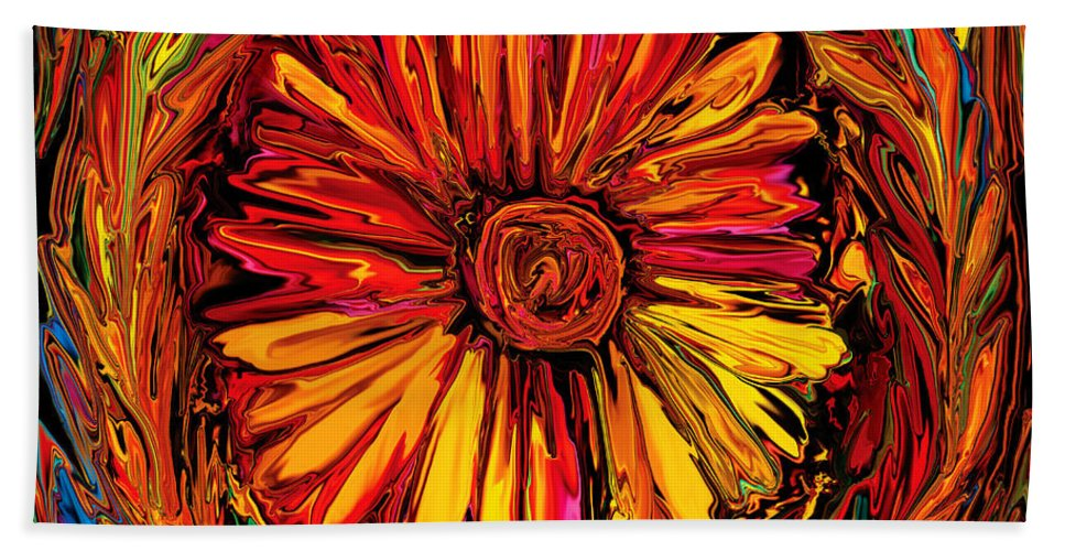 Art Beach Sheet featuring the digital art Sunflower Emblem by Rabi Khan