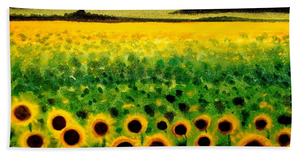 Landscape Beach Towel featuring the painting Sunflower Field by Elizabeth Robinette Tyndall