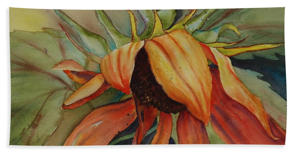 Sunflower Beach Towel featuring the painting Sunflower by Ruth Kamenev