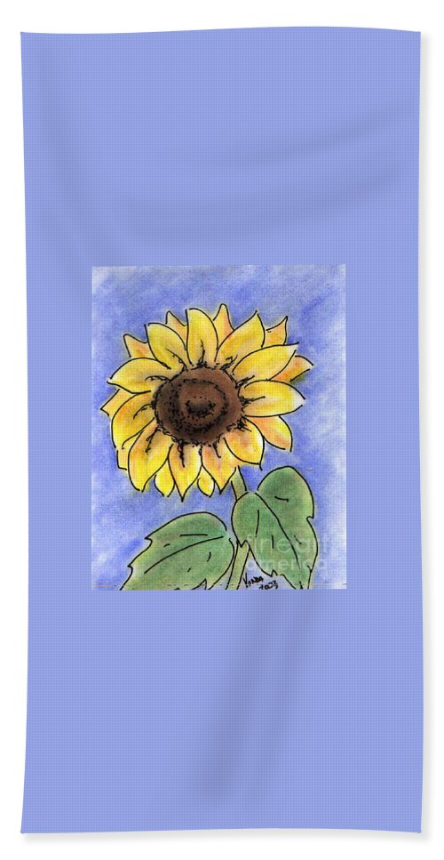Sunflower Beach Towel featuring the drawing Sunflower by Vonda Lawson-Rosa