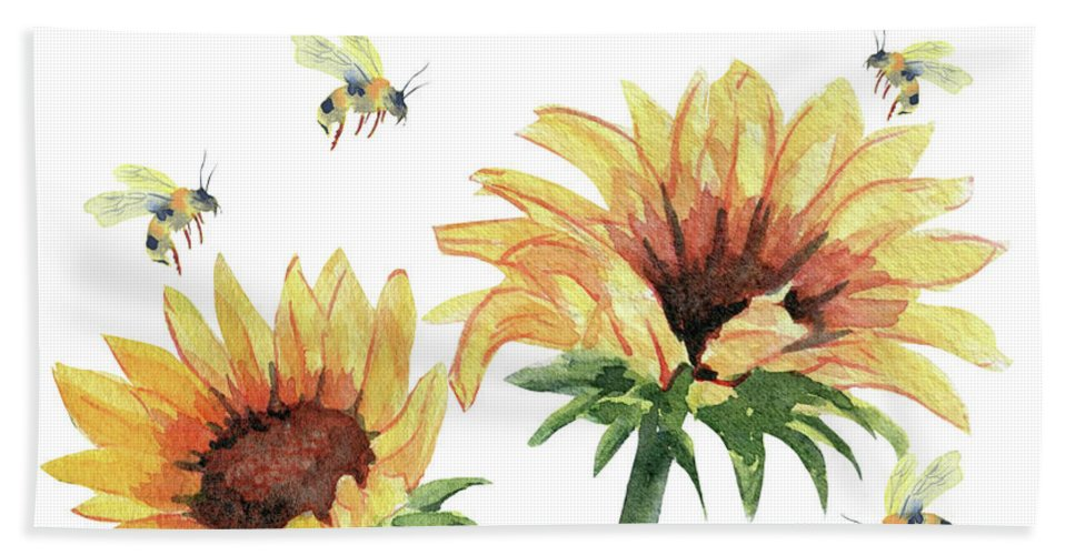 Sunflower And Honey Bees Beach Towel featuring the painting Sunflowers And Honey Bees by Melly Terpening