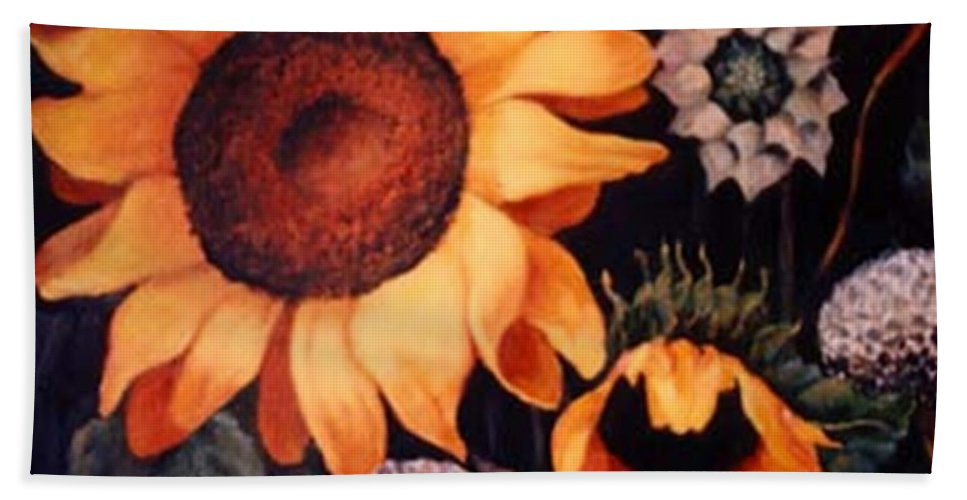 Sunflowers Paintings Beach Towel featuring the painting Sunflowers and more sunflowers by Jordana Sands