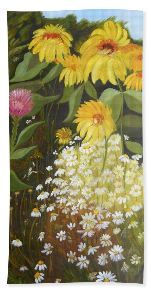 Landskape Beach Sheet featuring the painting Sunflowers by Antoaneta Melnikova- Hillman