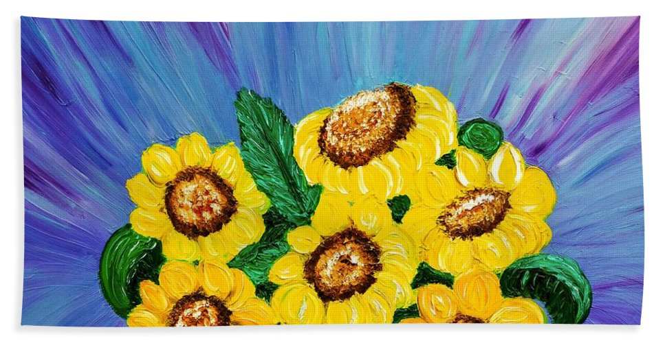 Sunflowers Beach Towel featuring the painting Sunflowers by Elizabeth Goodermote