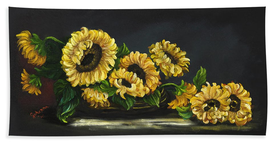 Flower Beach Towel featuring the painting Sunflowers From The Garden by Johanna Lerwick