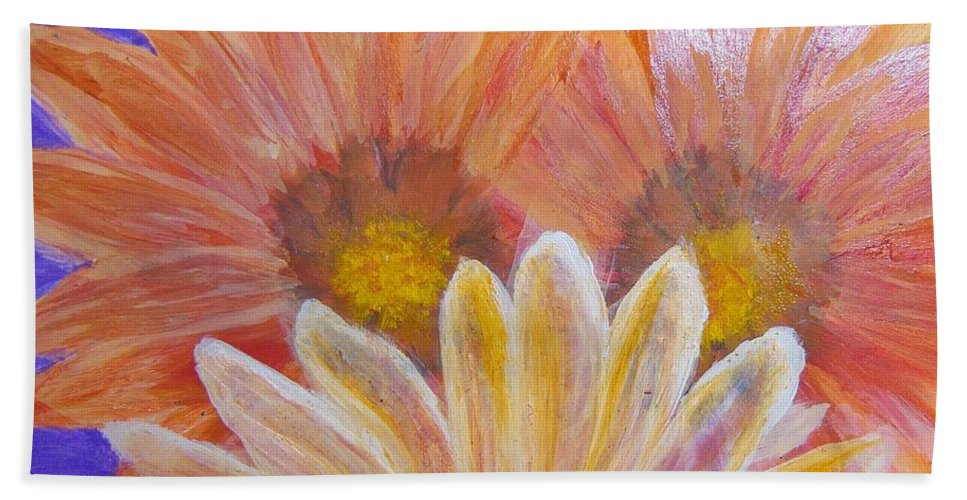 Flowers Beach Towel featuring the painting Sunflowers by Gloria Sousa