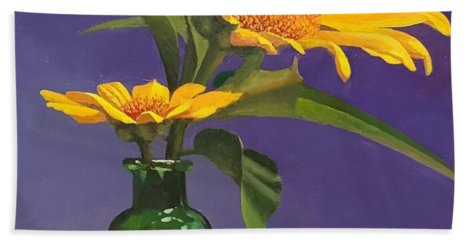 Sunflowers Beach Towel featuring the painting Sunflowers In A Green Bottle by Jessica Anne Thomas