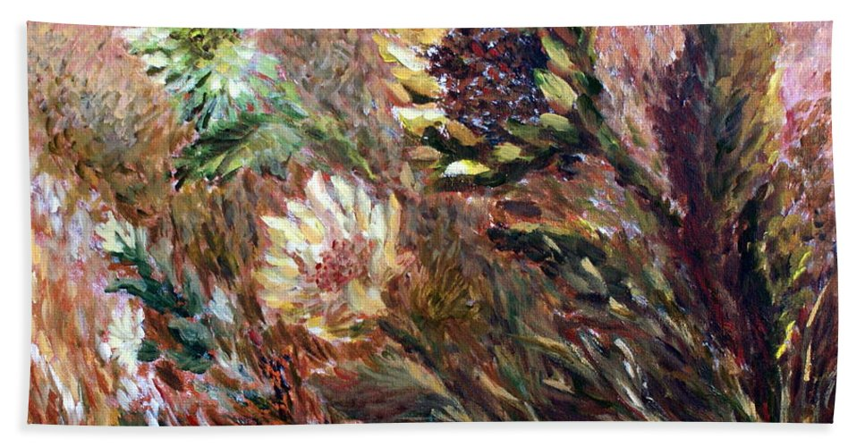 Sunflowers Beach Towel featuring the painting Sunflowers by Joanne Smoley