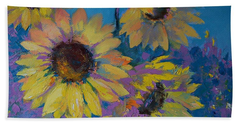 Sunflower Beach Towel featuring the painting Sunflowers by Natalya Zaytseva