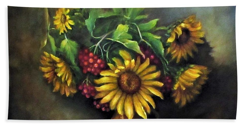 Berries Beach Towel featuring the painting Sunflowers oil canvas painting by Natalja Picugina