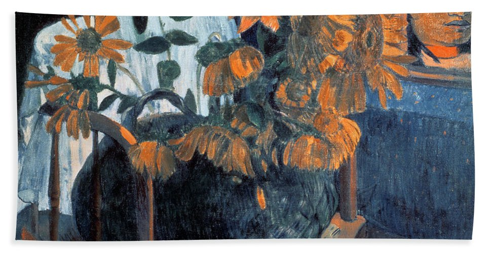 Sunflowers Beach Towel featuring the painting Sunflowers, 1901 By Paul Gauguin by Paul Gauguin
