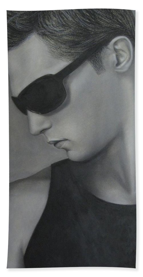 Man Beach Towel featuring the painting Sunglasses by Lynet McDonald