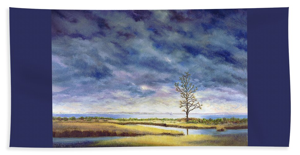 Beach Towel featuring the painting Sunlight On The Marshes 18x24 by Tony Scarmato