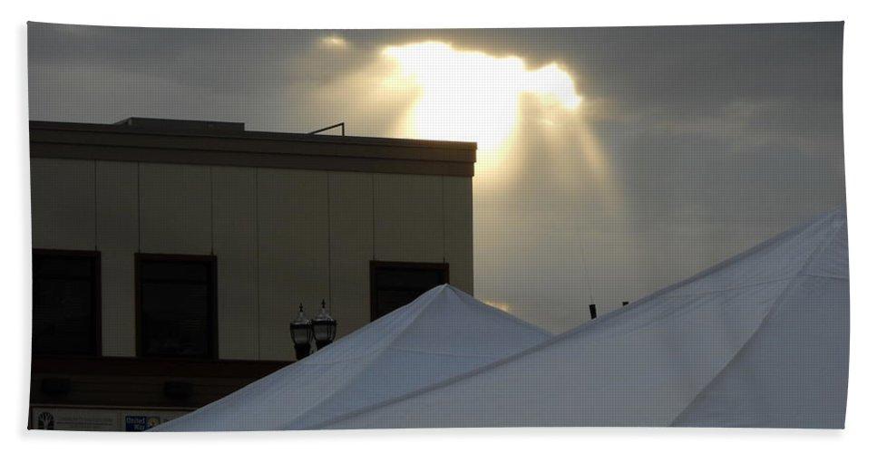Sunlight Beach Towel featuring the photograph Sunlight Shooting Through Clouds by Kent Lorentzen