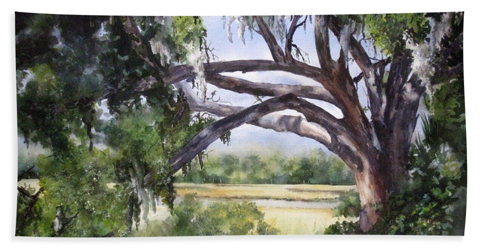 Marsh Beach Towel featuring the painting Sunlit Marsh by Mary McCullah