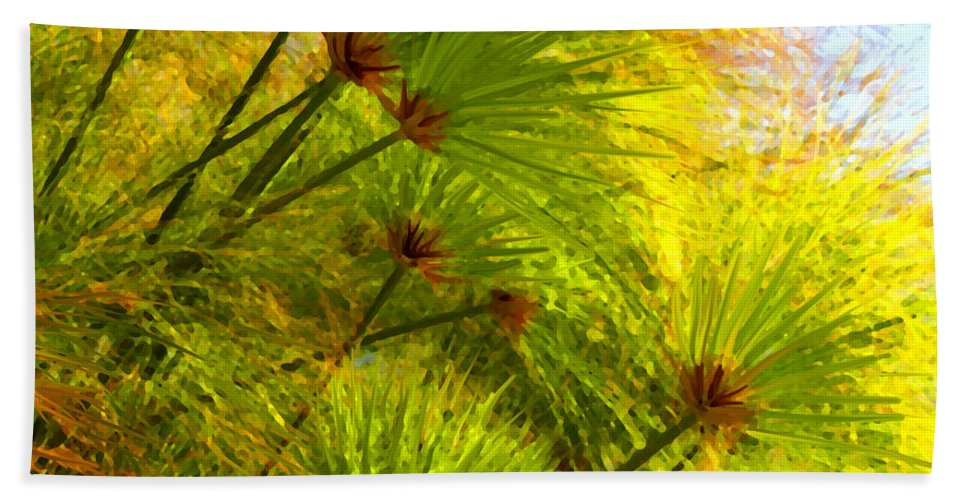 Landscape Beach Towel featuring the painting Sunlit Paparus by Amy Vangsgard