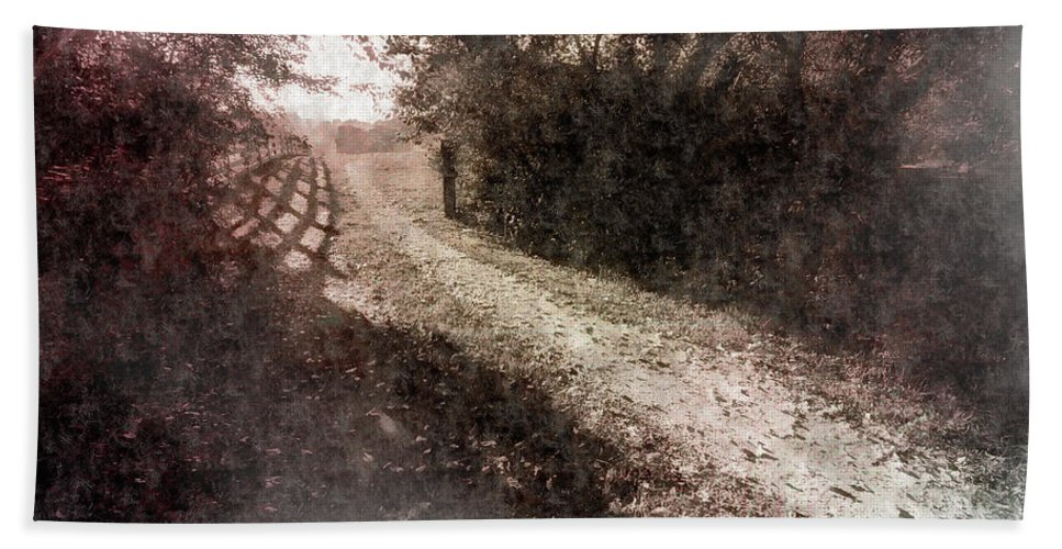 Landscape Beach Towel featuring the photograph Sunlit Pathway by Jim Love
