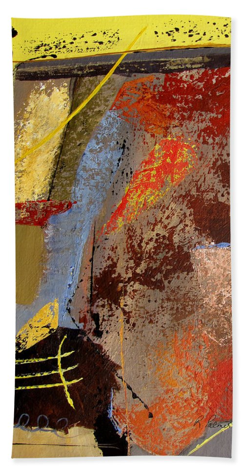 Abstract Beach Towel featuring the painting Sunny Disposition by Ruth Palmer