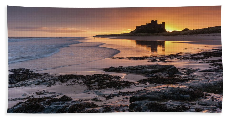 Sunrise Beach Towel featuring the photograph Sunrise at Bamburgh Castle #4, Northumberland, North East England by Anthony Lawlor