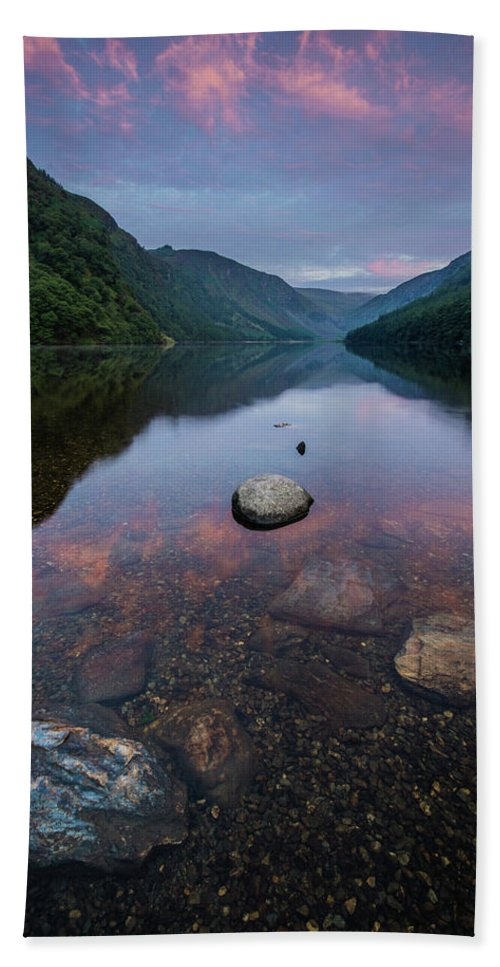 Sunrise Beach Towel featuring the photograph Sunrise at Glendalough Upper Lake #2, County Wicklow, Ireland by Anthony Lawlor
