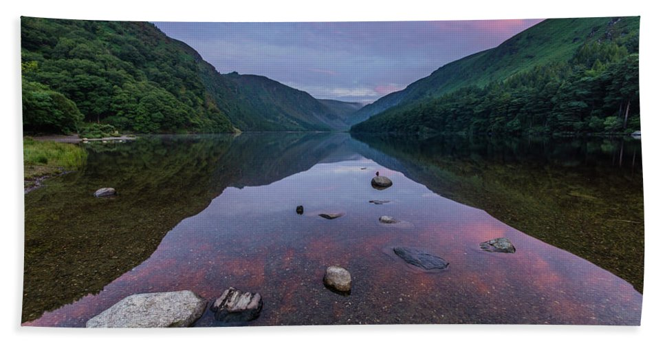 Sunrise Beach Towel featuring the photograph Sunrise at Glendalough Upper Lake #3, County Wicklow, Ireland. by Anthony Lawlor
