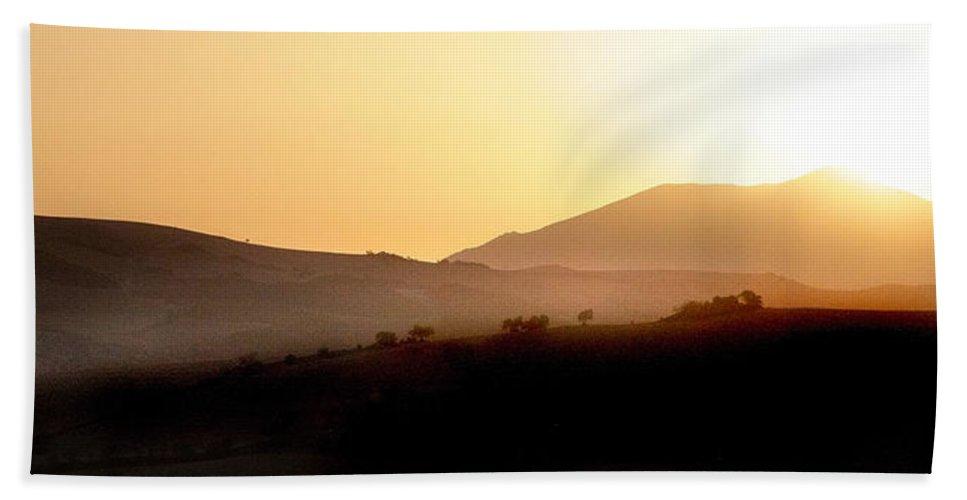 Landscape Beach Sheet featuring the photograph Sunrise At Pastelero Near Villanueva De La Concepcion Malaga Region Spain by Mal Bray
