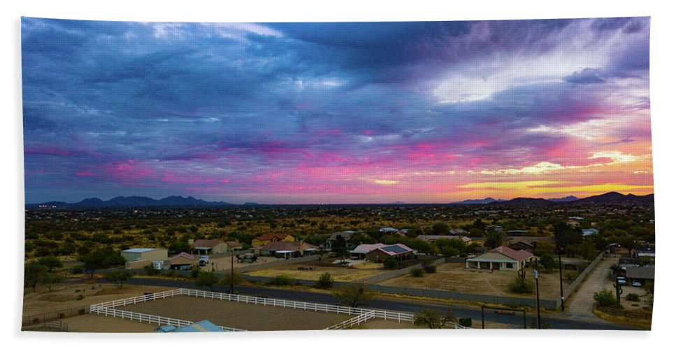Drone Photography Beach Towel featuring the photograph Sunrise At The Horse Barn by David Stevens