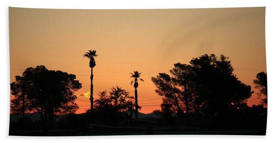 Sunset At The Oasis Beach Towel featuring the photograph Sunrise At The Oasis by Warren Still