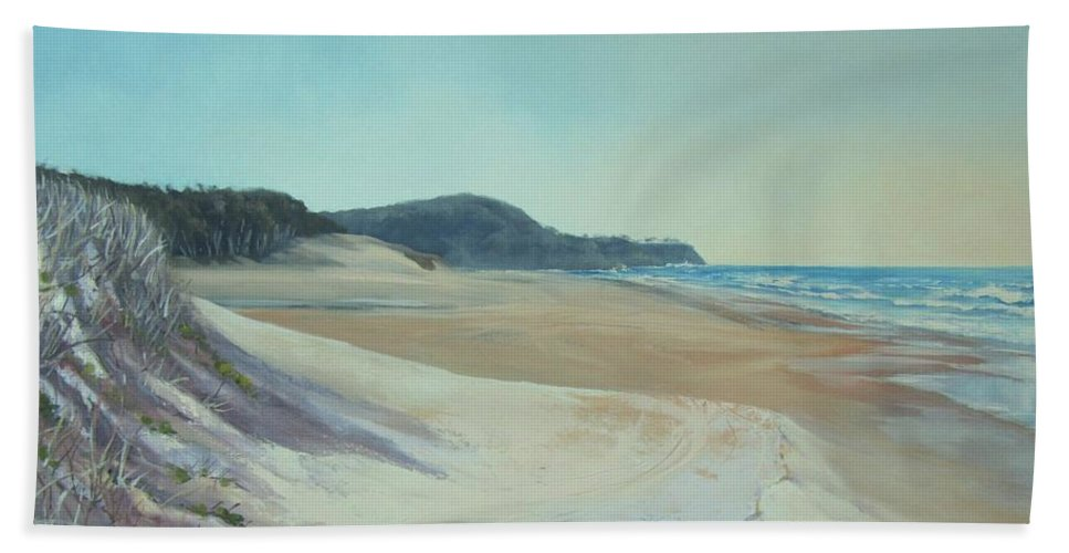 Sand Dunes Beach Towel featuring the painting Sunrise Beach And Lions Head Noosa Heads Queensland by Chris Hobel