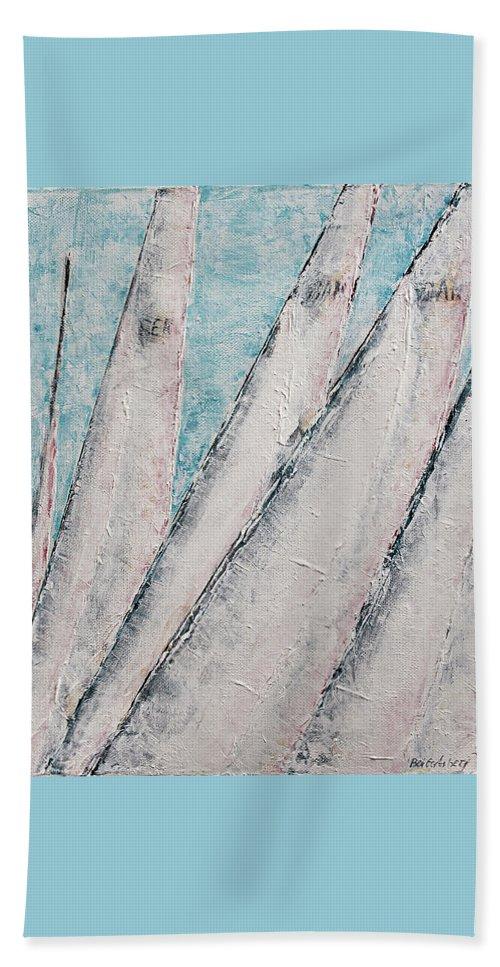Abstract Sail Beach Towel featuring the painting Sunrise Fog Regatta by Ben Gertsberg